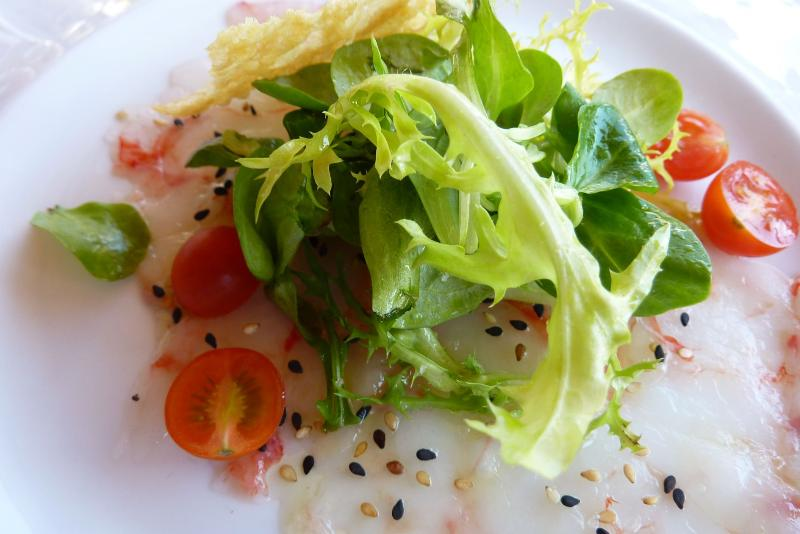 Valldemossa - Prawn carpaccio with watercress salad, parmesan crisp and grape oil