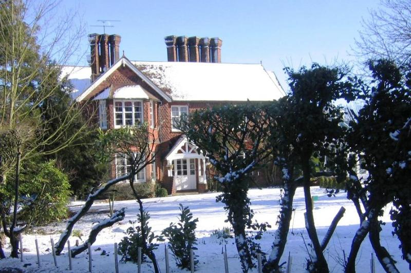 Redcoats Farmhouse Hotel in winter