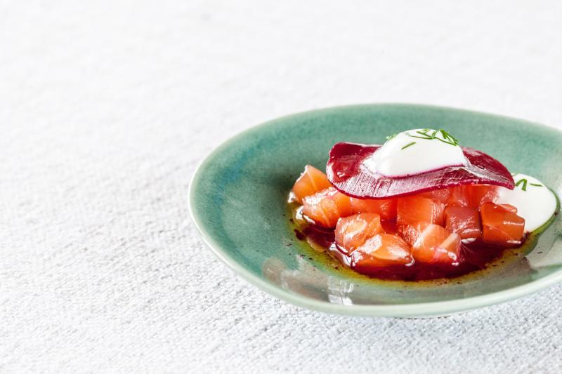 Cured Salmon, Beetroot and Horseradish